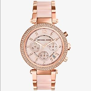 AUTH Michael Kors Pave Two Tone Diamond Pink Watch